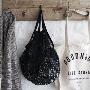 Cotton Net Short Handle French Market Bag Black